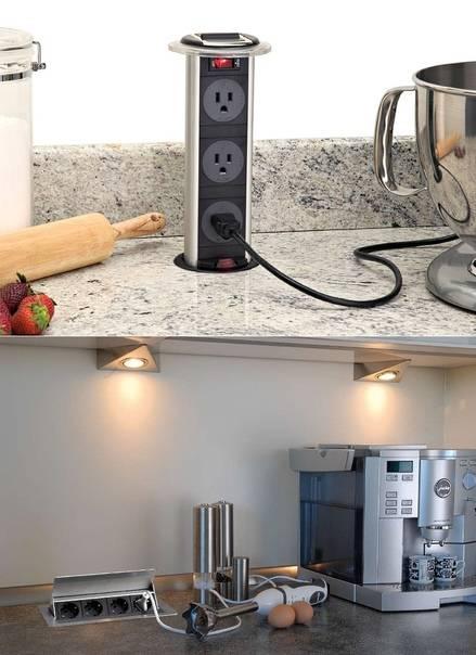 Встраиваемые розетки в столешнице: обзор решений и советы по монтажу (30 фото)   современные и модные кухни