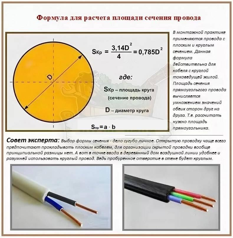 Выбор сечения провода (кабеля) — по току, мощности и длине: таблица