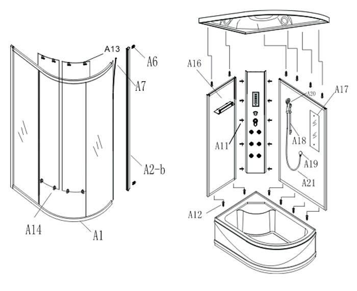 Как собрать поддон душевой кабины на примере типовых конструций