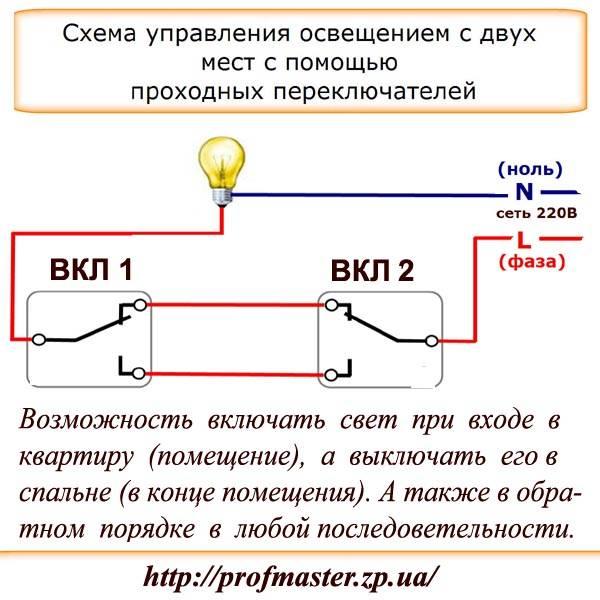 Схема подключения проходного выключателя - как выбрать и где разместить современный выключатель