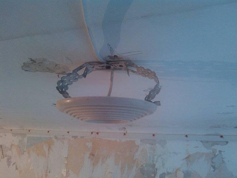 Закладные под натяжной потолок: платформы для люстры и светильников