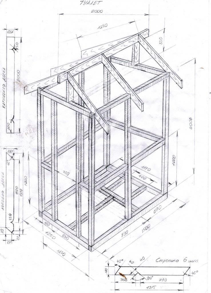 Строим дачный туалет по чертежам