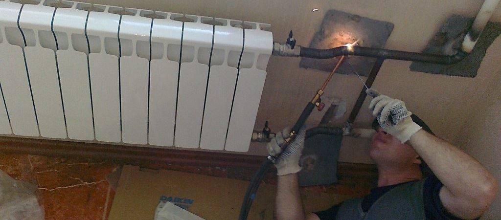 Правила замены батарей отопления в квартире, газосварка труб