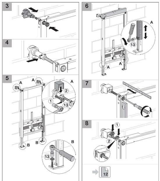 Пошаговый алгоритм установки инсталляции унитаза: блочного, рамочного видов