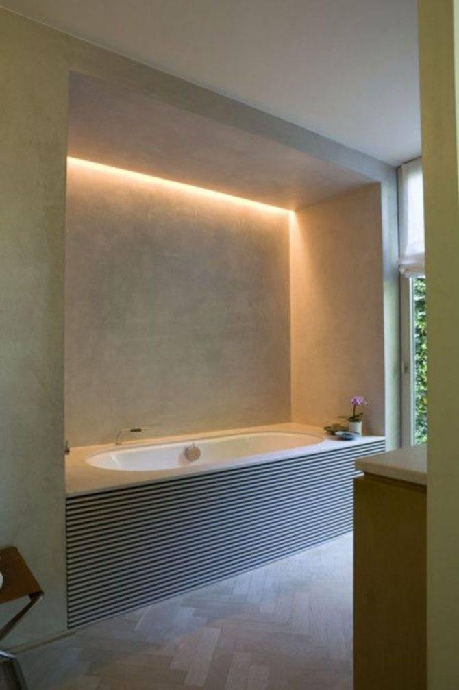 Светодиодная подсветка пола в ванной комнате