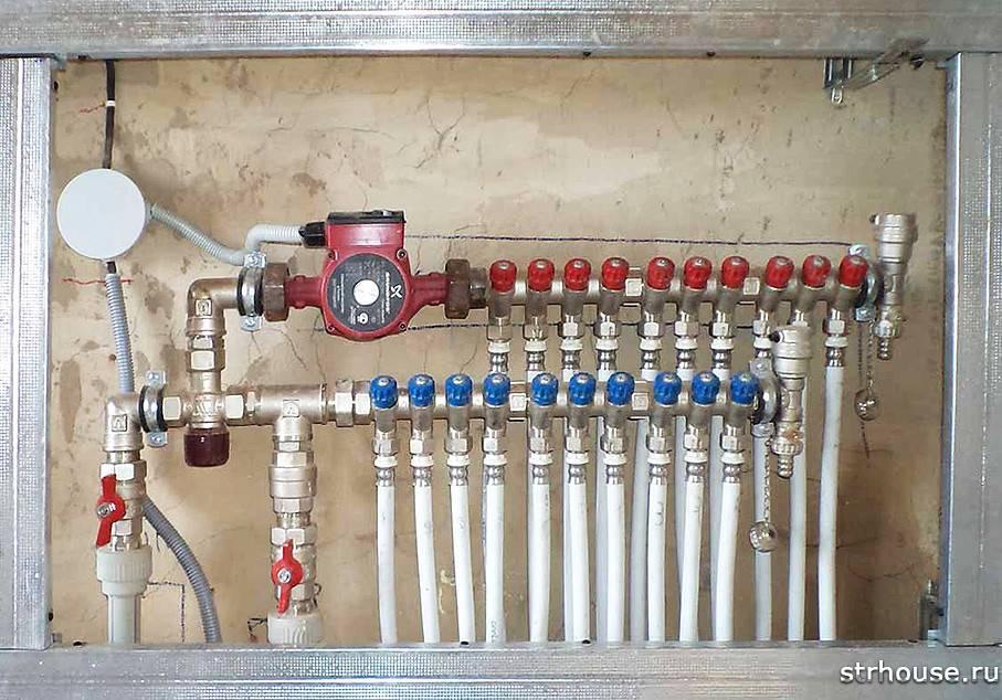Распределительный коллектор системы отопления, гребенка, гидроколлектор
